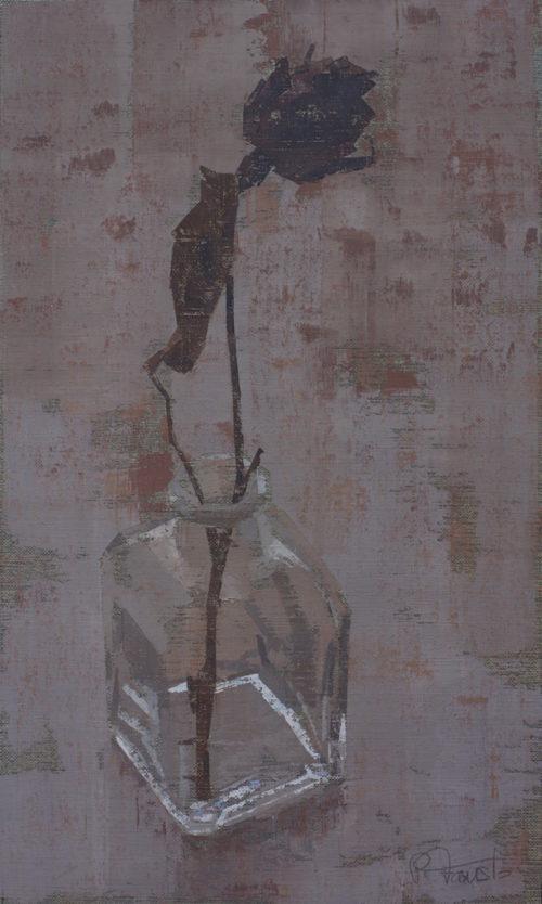 """Pedro Fausto. Pintor. """"Botella y flor"""". Exposición en Galería García de Diego. La Palma, canarias"""