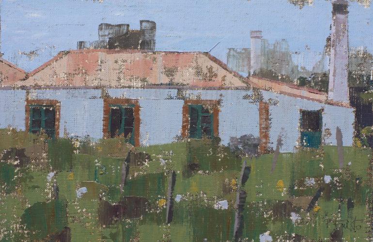 """Pedro Fausto. Pintor. """"Casa con chimenea"""". Exposición en Galería García de Diego. La Palma, canarias"""