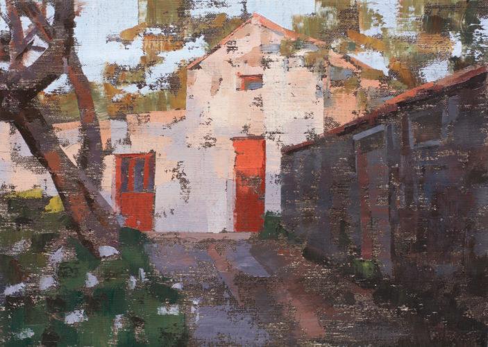 """Pedro Fausto. Pintor. """"Casa y Pajero"""". Exposición en Galería García de Diego. La Palma, canarias"""