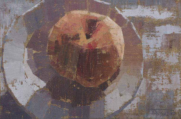 Pedro Fausto. Pintor. Melocotón y plato. Exposición en Galería García de Diego. La Palma, canarias