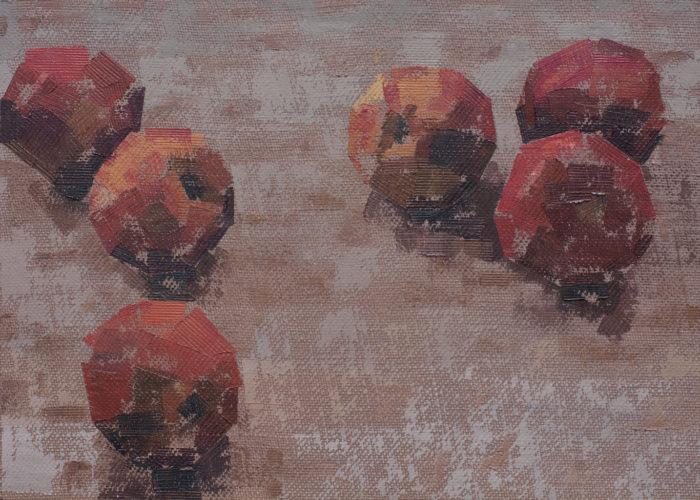 Pedro Fausto. Pintor. Melocotones. Exposición en Galería García de Diego. La Palma, canarias