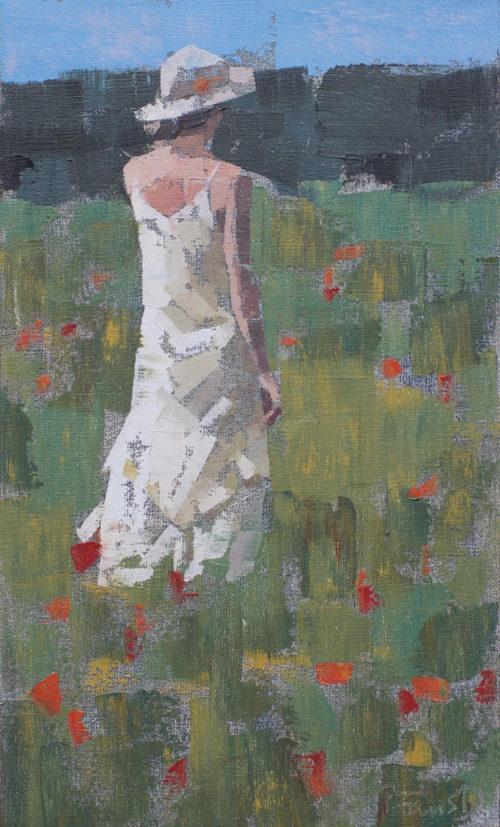 Pedro Fausto. Pintor. Mujer con sombrero. Exposición en Galería García de Diego. La Palma, canarias