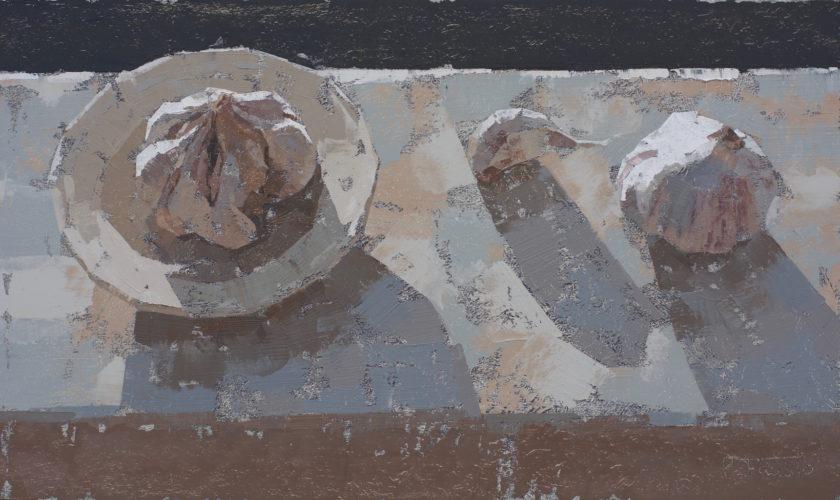 Pedro Fausto. Pintor. Plato y ajos. Exposición en Galería García de Diego. La Palma, canarias
