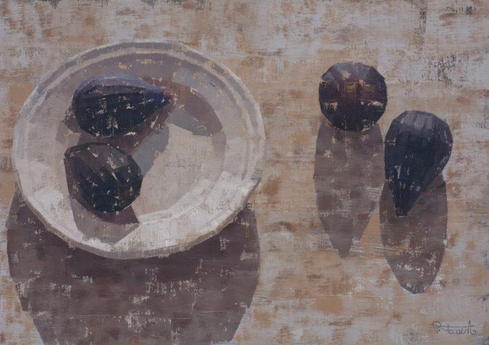 Pedro Fausto. Pintor. Plato y brevas. Exposición en Galería García de Diego. La Palma, canarias