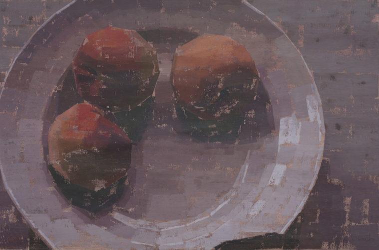 Pedro Fausto. Pintor. Plato y Melocotones. Exposición en Galería García de Diego. La Palma, canarias