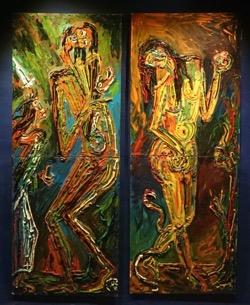 Adán y Eva c_u 61 x 161 cm. Hugo Pitti. exposición en Galería García de Diego, La Palma, canarias