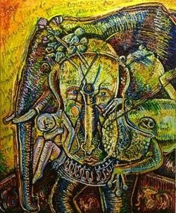 Ana de Cléveris 54 x 65 cm. Hugo Pitti. exposición en Galería García de Diego, La Palma, canarias