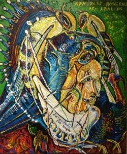 Ann Rose 65 x 54 cm. Ante los ojos de una muchacha. Aquelarre 245 x 81 cm. Hugo Pitti. exposición en Galería García de Diego, La Palma, canarias