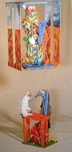 Ante los ojos de una muchacha. Aquelarre 245 x 81 cm. Hugo Pitti. exposición en Galería García de Diego, La Palma, canarias
