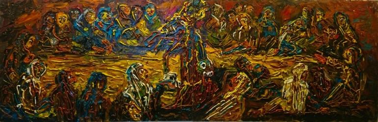 Aquelarre 245 x 81 cm. Hugo Pitti. exposición en Galería García de Diego, La Palma, canarias