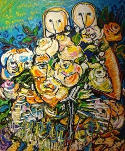 Catalina Howard 54 x 65 cm. Hugo Pitti. exposición en Galería García de Diego, La Palma, canarias