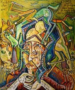 Catalina de Aragón 54 x 65 cm. Hugo Pitti. exposición en Galería García de Diego, La Palma, canarias