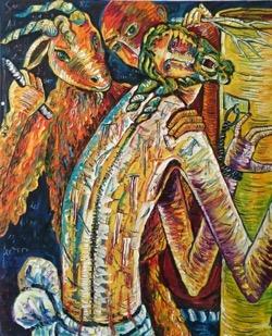 Jesús es azotado 81 x 100 cm. Hugo Pitti. exposición en Galería García de Diego, La Palma, canarias