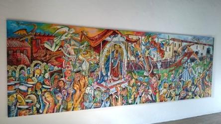 La Precesión 391 x 131 cm. Hugo Pitti. exposición en Galería García de Diego, La Palma, canarias