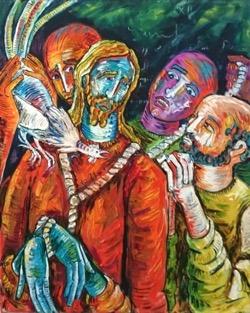 La negación de Pedro 73 x 92 cm. Hugo Pitti. pintor canario. exposición galería garcia de diego, arte en canarias