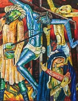 Le dan a beber hiel con vinagre89 x 105 cm. Hugo Pitti. exposición en Galería García de Diego, La Palma, canarias