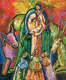 Nacimiento, homenaje a Mondrian 60 x 73 cm. Hugo Pitti. Galería de arte García de Diego, La Palma, canarias
