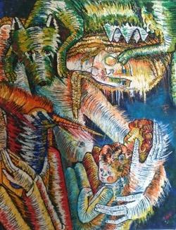 Remus y Romulos 50 x 65 cm. Hugo Pitti. Pintor. Galería García de Diego, arte en canarias