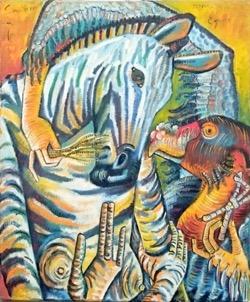 Santero sanando 54 x 65 cm. Hugo Pitti. Pintor. Galería García de Diego, arte en La Palma