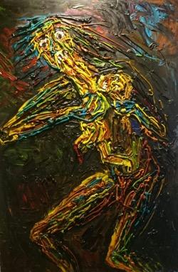 Saturno devorando a su hijo 81 x 123 cm. Hugo Pitti. Galería García de Diego, La Palma, canarias