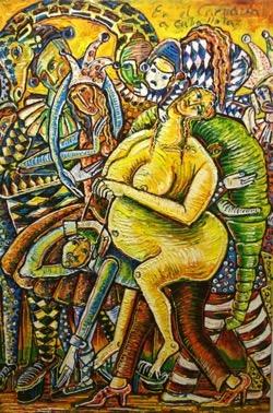 en el Carnaval 55 x 82 cm. Hugo Pitti. exposición en Galería García de Diego, La Palma, canarias