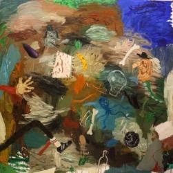 Matías Sánchez, artista, pintor. ARCHIPIÉLAGO. 2016. Óleo sobre tela. 200 x 200 cm