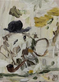 Matías Sánchez, artista. CABEZA CON PIPA. 2017. Óleo sobre tela. 33 x 24 cm