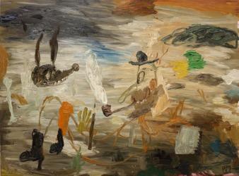 Matías Sánchez. Pintor. CUADERNO DE APUNTES. 2015. Óleo sobre tela. 97 x 130 cm