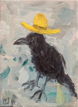 Matías Sánchez, pintor. CUERVO. 2017. Óleo sobre tela. 33 x 24 cm