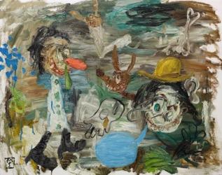 Matías Sánchez, artísta. DESOCUPADOS. 2015. Óleo sobre tela. 73 x 92 cm