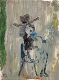 Matías Sánchez. Pintor. EL PENSADOR. 2017. Óleo sobre tela. 33 x 24 cm