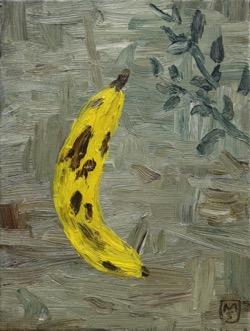 Matías Sánchez. Pintor. PLÁTANO. 2017. Óleo sobre tela. 33 x 24 cm
