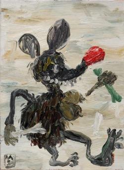 Matías Sánchez. Pintor. RATITA CON HUESO. 2016. Óleo sobre tela. 33 x 24 cm