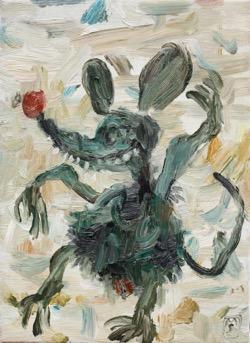 Matías Sánchez. Pintor. RATITA DE BARCO. 2017. Óleo sobre tela. 33 x 24 cm
